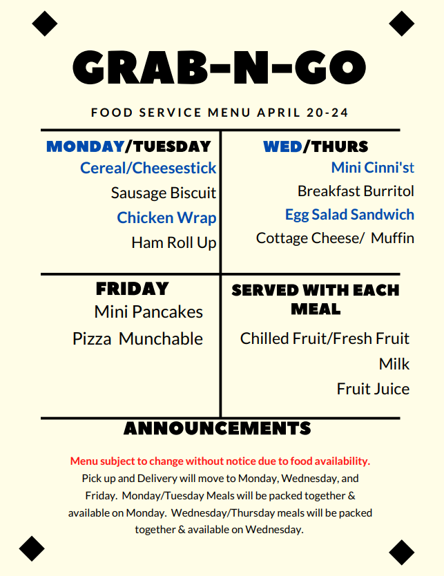 Lunch Menu for Week of April 20