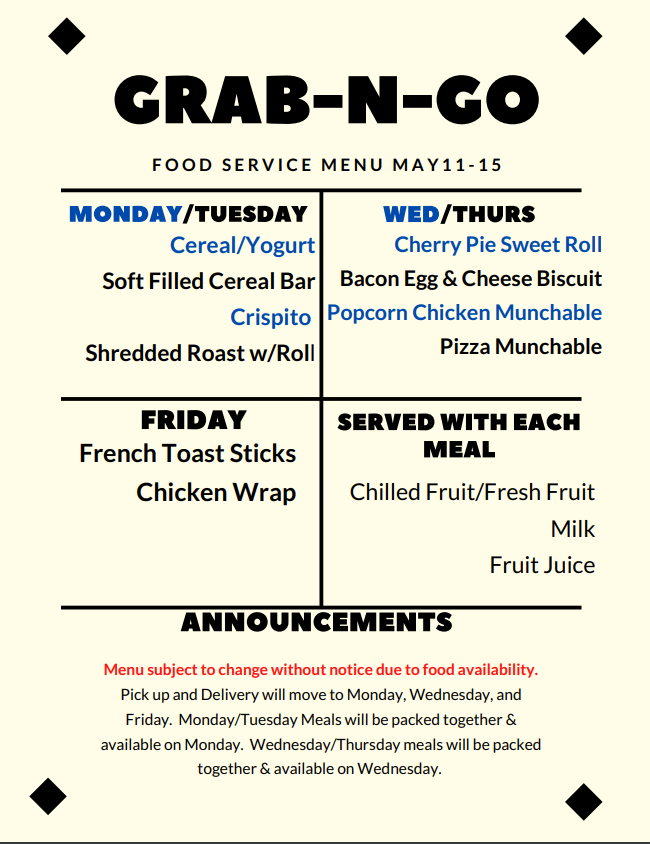 Menu for May 11-15